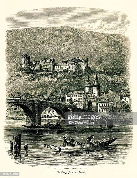 heidelberg, germany i antique european illustrations - village stock illustrations