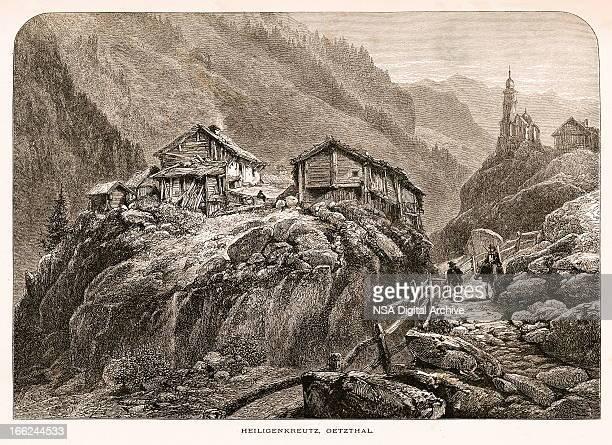 heiligenkreuz, austria (antique wood engraving) - village stock illustrations