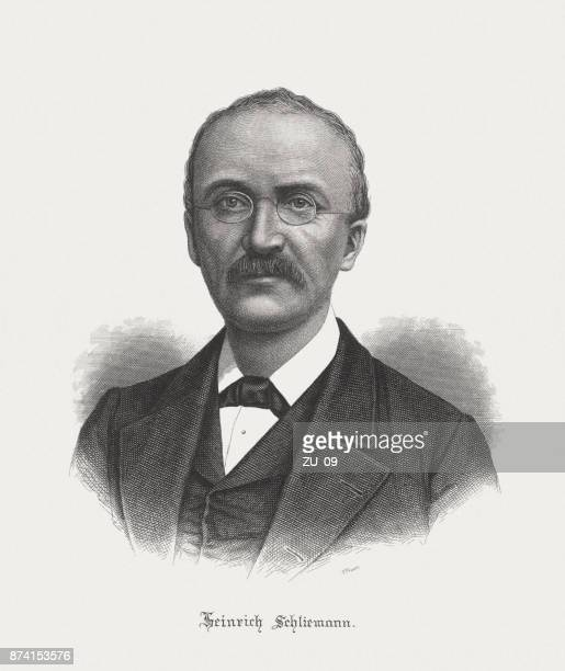 heinrich schliemann (1822-1890), german pioneer of archaeology, published in 1891 - mycenae stock illustrations