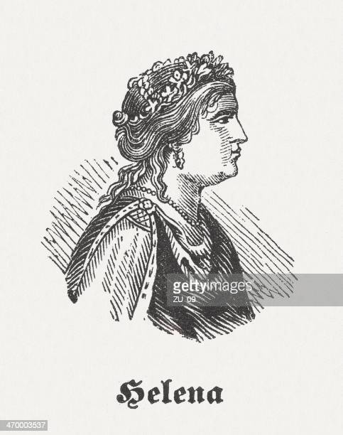 helen of troy, greek mythology, wood engraving, published in 1864 - athens georgia stock illustrations, clip art, cartoons, & icons