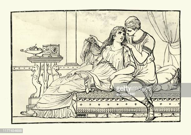 helen of troy in the arms of paris - greek mythology stock illustrations
