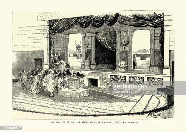 helena in troas, hengler's circus, death of oenone, classical theatre - classical theater stock illustrations