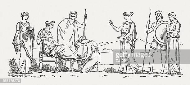 Helena's beauty care, Greek mythology, wood engraving, published in 1880
