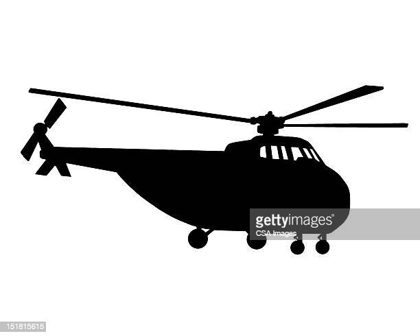 helicopter silhouette - military stock illustrations
