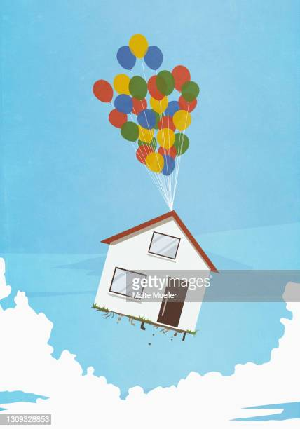 helium balloons lifting house into sky - opportunity stock illustrations