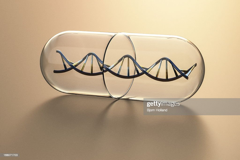 DNA Helix inside a Medical Pill Capsule : stock illustration