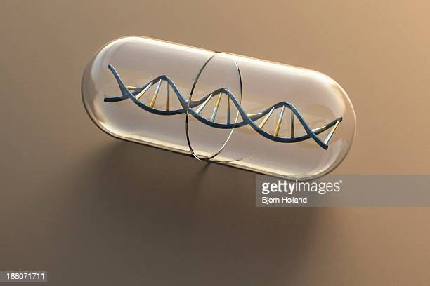 DNA Helix inside a Medical Pill Capsule