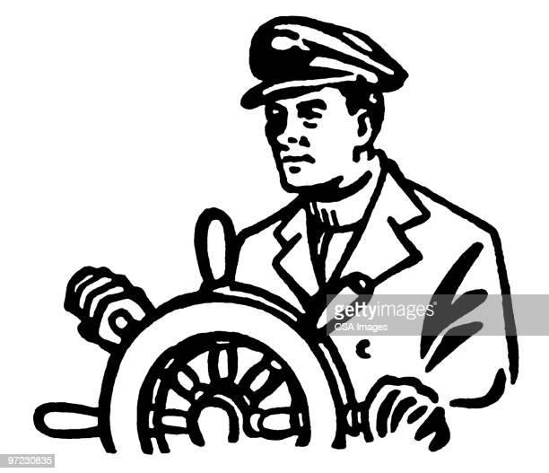 helm - boat captain stock illustrations, clip art, cartoons, & icons