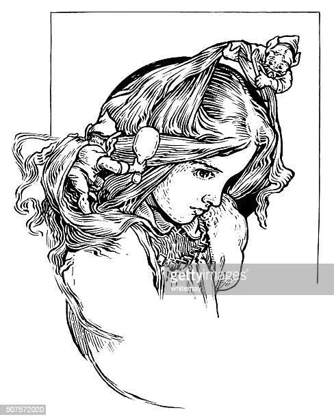 illustrations, cliparts, dessins animés et icônes de gommage des elfes une femme un les cheveux - coiffeur humour