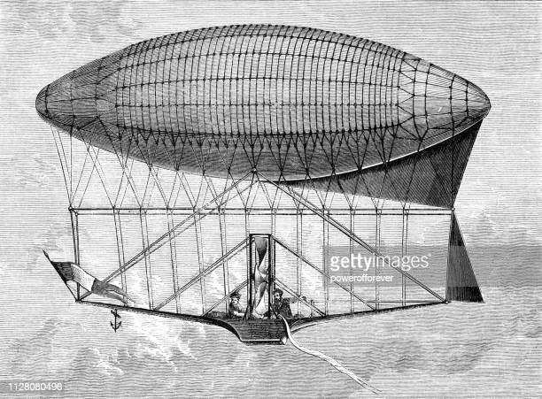 henri dupuy de lôme schiffbaren ballon, erste design (oktober 1870) - 19. jahrhundert - first occurrence stock-grafiken, -clipart, -cartoons und -symbole