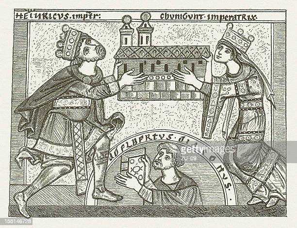 henry and cunigunde as builder of the bamberg cathedral, 1004 - circa 10th century stock illustrations