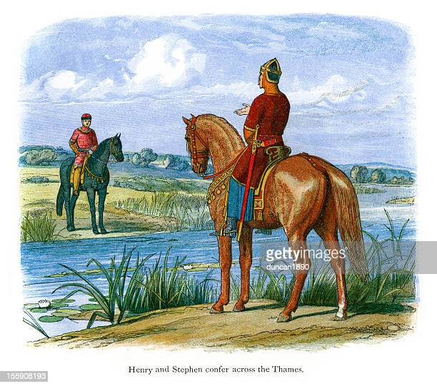 henry and stephen confer across the thames - stehen stock illustrations