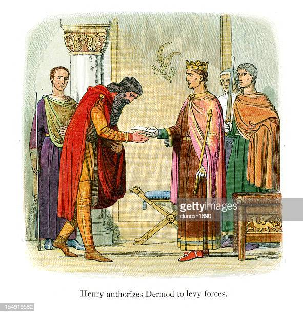 henry authorizes dermond to levy forces - diplomacy stock illustrations