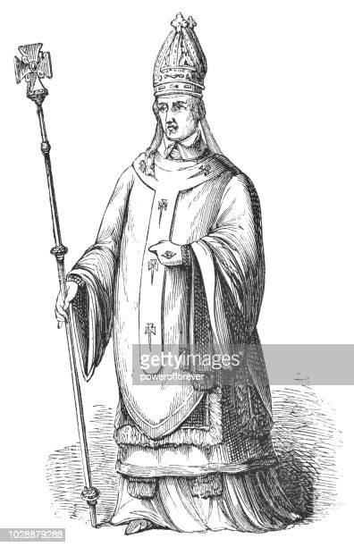 henry chichele, archbishop of canterbury - bishop clergy stock illustrations, clip art, cartoons, & icons