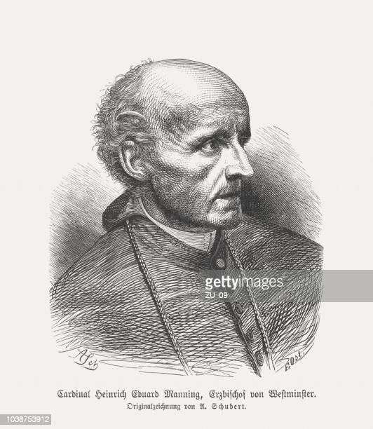 Henry Edward Manning (1808-1892), English Cardinal, wood engraving, published 1876