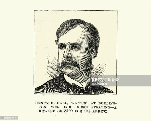 ヘンリー・h・ホールは、彼の逮捕、ビクトリア朝の犯罪と犯罪者のために$100の報酬を盗んだ馬のためにウィスコンシン州バーリントンで指名手配されました - ウエスタン映画点のイラスト素材/クリップアート素材/マンガ素材/アイコン素材