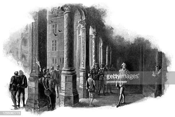 bildbanksillustrationer, clip art samt tecknat material och ikoner med henrik i, hertig av guise varnas för mordet på royal château de blois i blois, frankrike - 16th century - duke