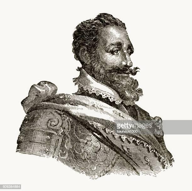 henry iv, 1553-1610, engraving - henri iv of france stock illustrations