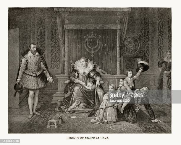 henry iv of france at home, engraving - king royal person stock illustrations, clip art, cartoons, & icons