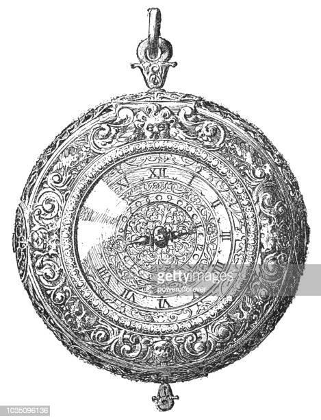 ilustraciones, imágenes clip art, dibujos animados e iconos de stock de estilo enrique iv reloj de bolsillo de plata (1589 – 1610) - reloj de bolsillo