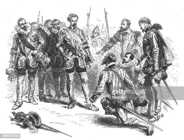 henry of navarre and the scotch guards - henri iv of france stock illustrations