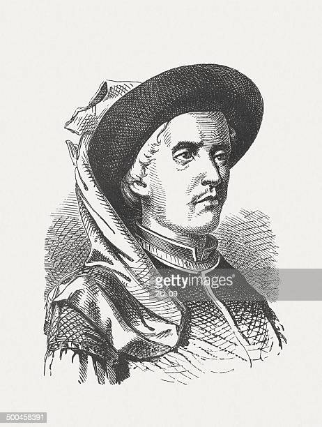 henry the navigator (1394-1460), portuguese navigator, wood engraving, published 1880 - traditionally portuguese stock illustrations