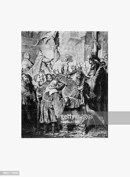 henry v, 1388-1422, rejects falstaff engraving - henry v of england stock illustrations, clip art, cartoons, & icons