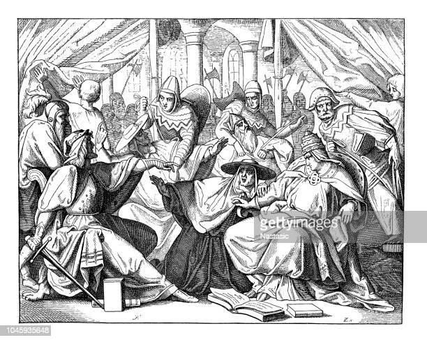 henry v captured pope paschal ii in 1111 - henry v of england stock illustrations, clip art, cartoons, & icons