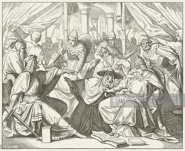 henry v captured pope paschal ii in 1111, published 1881 - henry v of england stock illustrations, clip art, cartoons, & icons
