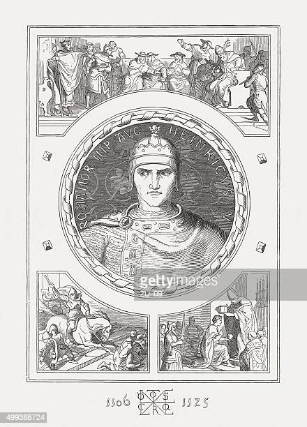 henry v, (1081/86-1125), holy roman emperor, published in 1876 - henry v of england stock illustrations, clip art, cartoons, & icons