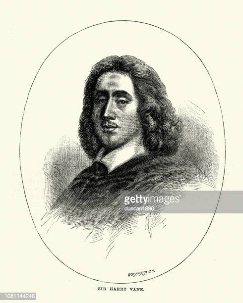henry vane the younger an english politician and colonial governor - governor stock illustrations, clip art, cartoons, & icons