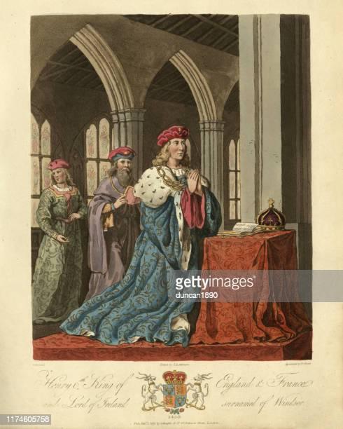stockillustraties, clipart, cartoons en iconen met hendrik vi koning van engeland, bidden voor de bijbel en de kroon - koning koninklijk persoon