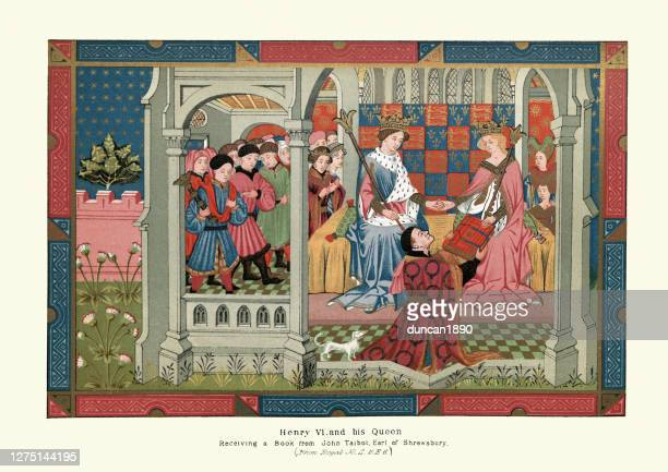 henry vi of england and queen margaret of anjou, 15th century - queen royal person stock illustrations