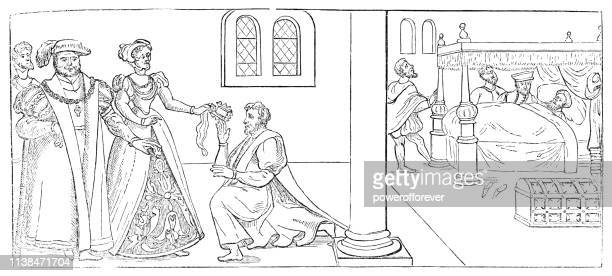Henry VIII and Anne Boleyn giving Gifts to a Sick Cardinal Wolsey - 16th Century