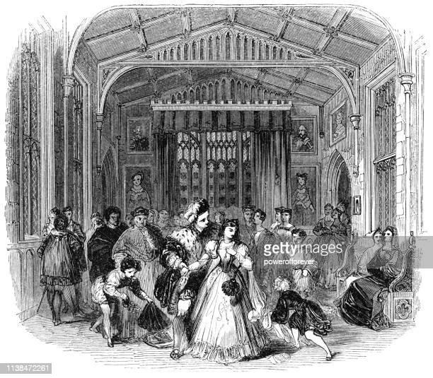 henry viii flirting with anne boleyn at cardinal wolsey's party - works of william shakespeare - anne boleyn stock illustrations