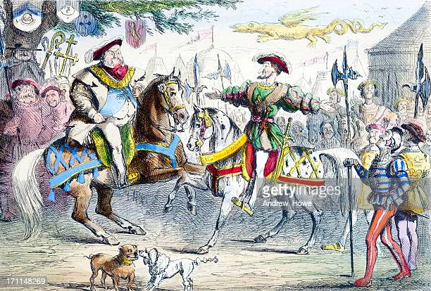 henry viii meets philip i - france stock illustrations