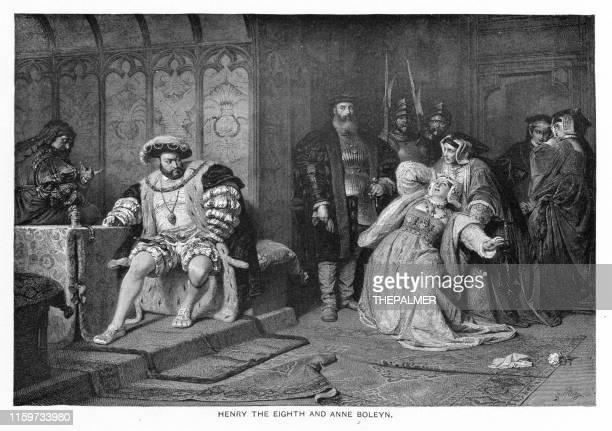 henry viii of england and anne boleyn  engraving 1892 - anne boleyn stock illustrations