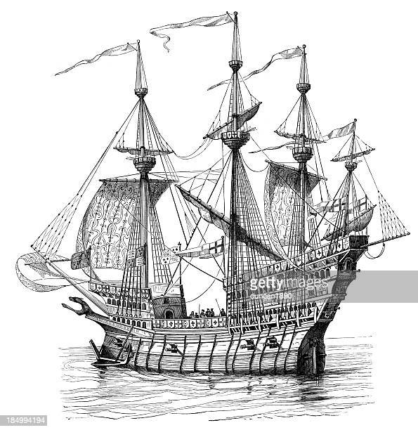 henry viii's warship - brigantine stock illustrations, clip art, cartoons, & icons