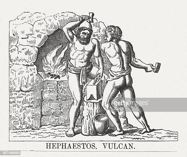 hephaestus, greek god of blacksmiths, wood engraving, published in 1878 - roman god stock illustrations