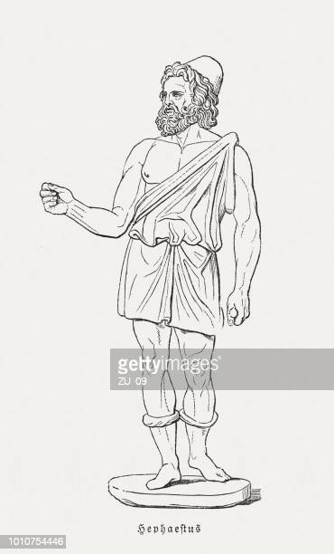 Hephaestus (Vulcan), Greek (Roman) god of blacksmiths, woodcut, published 1897