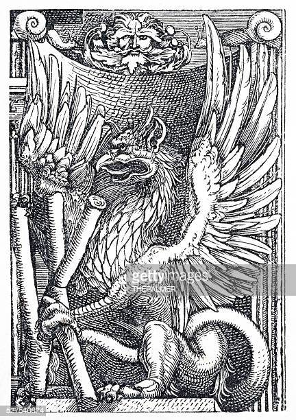 heraldic griffin engraving 1896 - griffin stock illustrations, clip art, cartoons, & icons