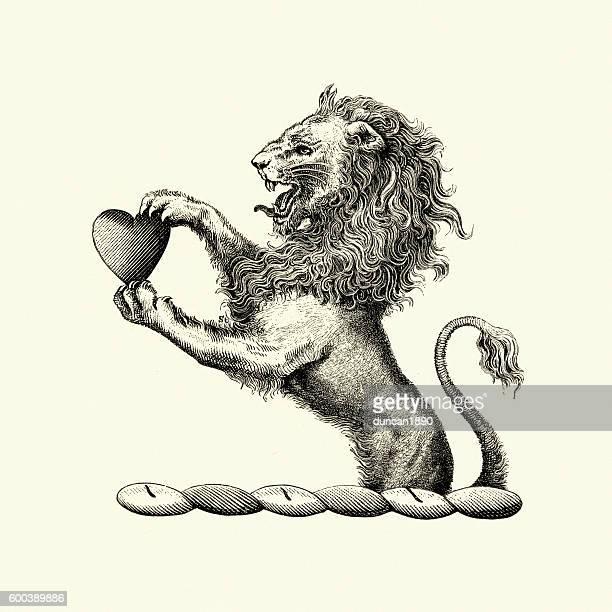illustrations, cliparts, dessins animés et icônes de heraldic lion holding a heart - lion