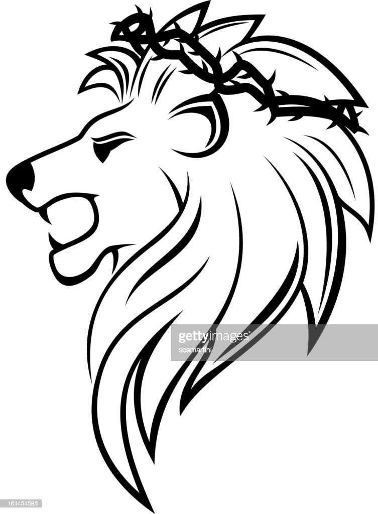 Heraldic lion with thorny wreath