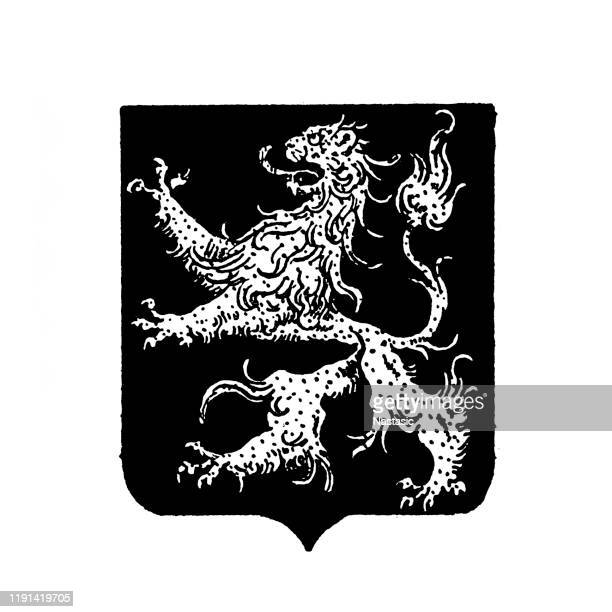 heraldry, coat of arms belgium - belgian culture stock illustrations
