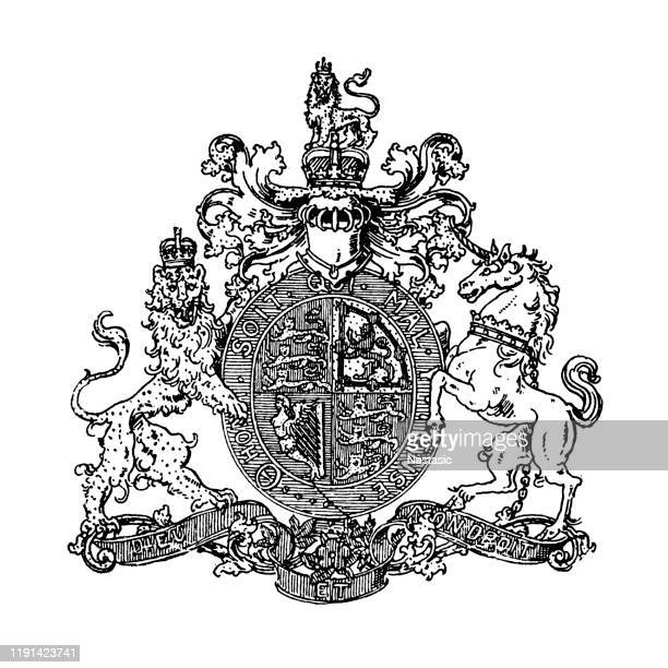 heraldry, coat of arms great britain and ireland - insignia stock illustrations