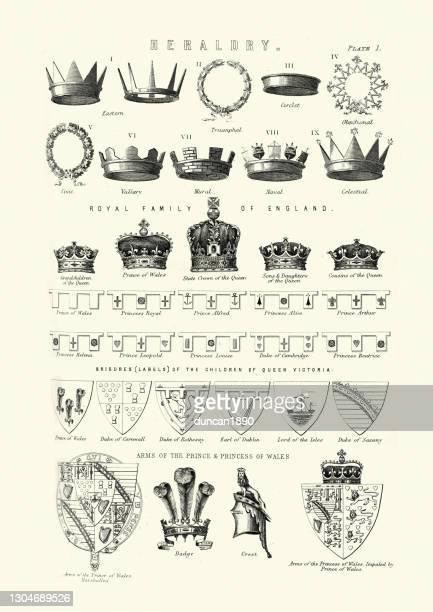 heraldry, examples of heraldic symbols, crowns, shields, victorian - british culture stock illustrations
