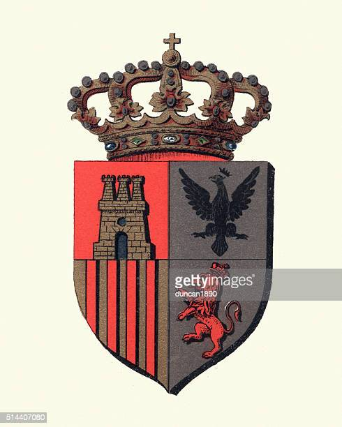 Heraldry - Heraldic crown and shield insignia