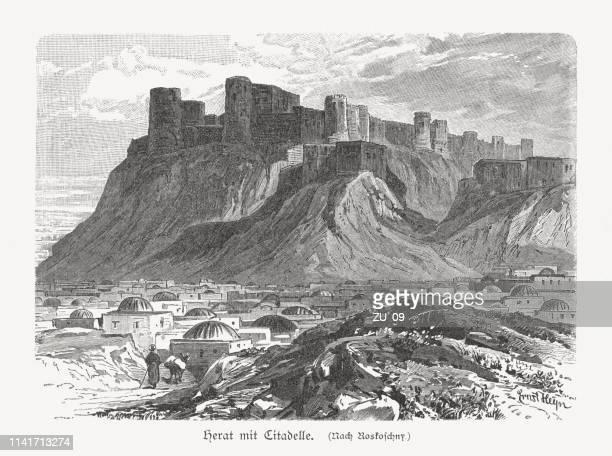 Herat with citadel (Qala Iktyaruddin), Afghanistan, wood engraving, published 1897
