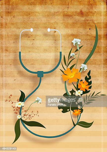 herbal stethoscope with flowers over colored background depicting natural medicine - ホメオパシー薬点のイラスト素材/クリップアート素材/マンガ素材/アイコン素材