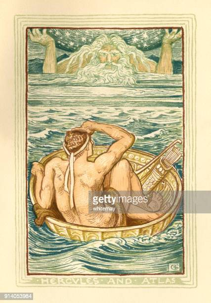 hercules and atlas - greek mythology - greek mythology stock illustrations